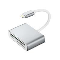 苹果三合一读卡器SD/CF/TF卡读卡器苹果OTG转接头相机手机连接线 太空灰 USB2.0