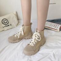 马丁靴女2019新款韩版秋季粗跟低跟短靴女绒面英伦复古马丁靴女潮 白色