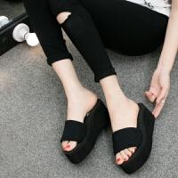 夏季女士凉拖鞋 泡沫底松糕跟厚底坡跟一字拖鞋底女鞋沙滩鞋 7厘米-黑色 高跟-尺码偏小
