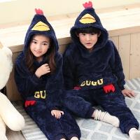 儿童睡衣男童秋冬季中大女童珊瑚绒小孩家居服宝宝套装