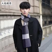 围巾男冬季长款简约格子英伦潮流年轻人男士围巾冬天围脖
