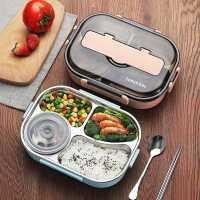 儿童餐盘分格餐具套装学生注水保温汤碗不锈钢饭盒分隔餐具大容量