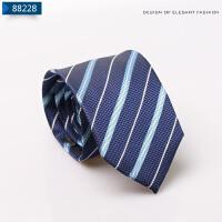 领带男士正装商务休闲深蓝色条纹学生面试职业 结婚领带送领夹8cm2018新品