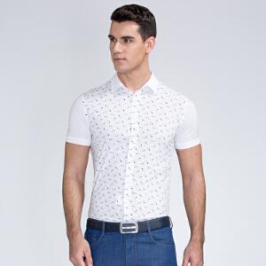 才子男装(TRIES)短袖衬衫 男士2017年新款创意图案舒适简约时尚清新休闲短袖衬衫