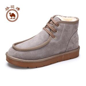 骆驼牌男靴  冬季日常保暖雪地靴潮流加绒舒适男靴毛里靴