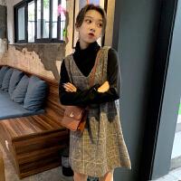 女神范套装裙女秋冬新款韩版格子背心裙打底衫网红时尚两件套