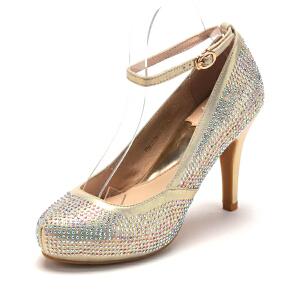 【3折到手价110.7元】菲伯丽尔FondberylPU尖头高跟套脚水钻单鞋女 FB41118911