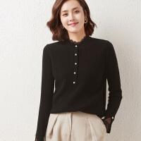 2021秋冬季新款女羊毛衫时尚蕾丝拼接长袖针织打底衫洋气显瘦上衣