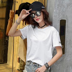 卡茗语夏装新款韩版宽松t恤女短袖原宿bf风印花纯棉体恤半袖上衣潮