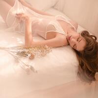 花与爱丽丝 性感睡衣女冬水溶蕾丝刺绣透明网纱交叉吊带睡裙套装