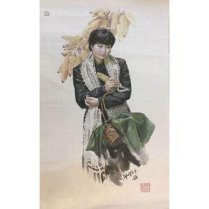朝鲜水墨画 一级画家 南龙《少女制造厂》【大千艺术品】