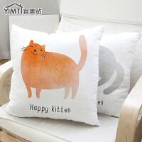 宜美贴 亚麻毛绒沙发抱枕靠垫 韩版猫简约风格