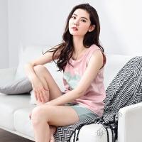 夏天无袖睡衣女士背心式短裤套装韩国甜美学生可爱卡通家居服
