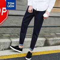 【2件1折35.9元】唐狮男装牛仔裤男青年修身型小脚弹力裤