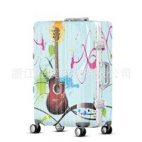 2018新款个性吉他拉杆箱男女登机行李箱涂鸦万向轮学生旅行箱可