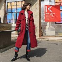 【2件4.7折 到手价251.29】七格格仿皮草羊羔毛外套女2018新款冬韩版宽松红色皮毛一体长大衣