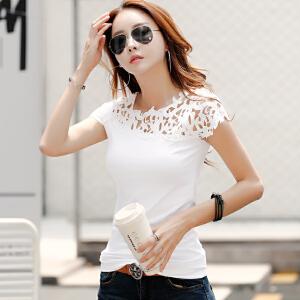 2017夏装新款短袖T恤女士大码镂空蕾丝韩版百搭纯色半袖体恤上衣