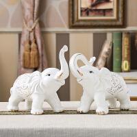 陶瓷大象摆件风水一对镇宅客厅家居装饰品欧式吉祥如意象摆设