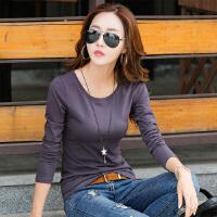 新款女装上衣体恤打底衫韩版修身显瘦白色长袖t恤女WK0175