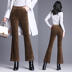 纤纯伊新款高腰微喇叭裤秋冬条绒长裤灯芯绒女裤