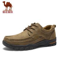 骆驼秋冬新款日常户外休闲头层牛皮软面圆头流行系带男鞋