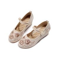 中国风亚麻高跟平底绣花鞋民族风老北京布鞋女坡跟单鞋古装汉服鞋 B02 米色