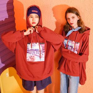 七格格假两件连帽卫衣女新款冬季韩版学生原宿风宽松长袖上衣
