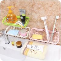 懿聚堂 双吸盘厨房卫生间置物架水槽洗碗海绵沥水架多功能收纳架