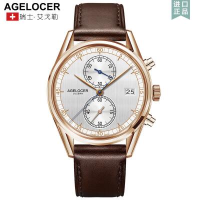 Agelocer艾戈勒男士手表皮带防水石英表男表休闲简约潮流腕表1支持七天无理由退换货,零风险购