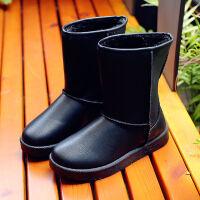 雪地靴女皮面中筒女款学生韩版加绒加厚防滑百搭防水女靴棉鞋冬鞋
