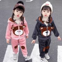女童金丝绒套装女宝宝秋冬装卫衣两件套