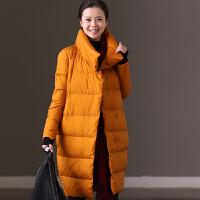 米可可 Y5816A 通勤韩版大码立领中长款外套羽绒服女 2017冬新