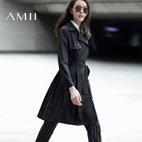 AMII[极简主义]2017年春女新英伦纯色双排扣腰带长风衣外套11673202
