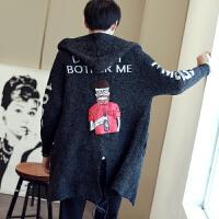 秋冬外套风衣修身韩版中长款青少年上班抓毛布男士冬季人物