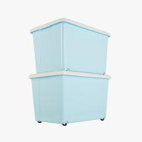 当当优品 2个装塑料收纳箱 加厚滑轮整理箱 蓝色 50L