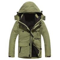 战地吉普AFS JEEP秋冬冲锋衣户外男装两件套可脱卸摇粒绒内胆男士棉服