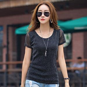 卡茗语 韩版t恤女短袖圆领夏款网纱打底衫潮上衣