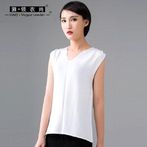 2018夏装新款女装宽松v领无袖针织衫褶皱纯色薄款短t恤纯色打底衫
