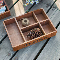 复古实木办公桌面收纳盒多功能化妆品整理盒多肉植物木盒子