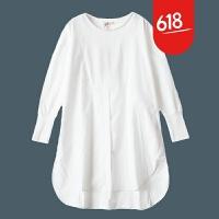 原创魅儿自然醒/文艺白色衬衫裙女长袖 中长款连衣裙 棉麻风宽松大码女装GH085 素白(预售)