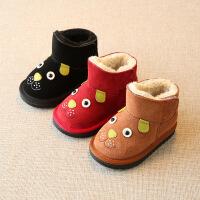 儿童雪地靴男童棉靴宝宝棉鞋女童靴子新款冬季加绒真皮短筒