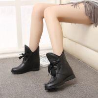 新款内增高短靴女系带显瘦坡跟防滑时尚妈妈马丁靴棉圆头低帮女鞋