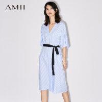 【AMII 超级品牌日】Amii[极简主义] 2017夏装新款宽松V领腰带条纹A字连衣裙11772606