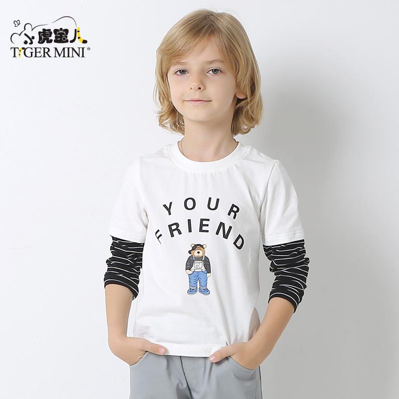 小虎宝儿童装男童纯棉长袖T恤儿童打底体恤2018春装新款中大童潮领券更优惠