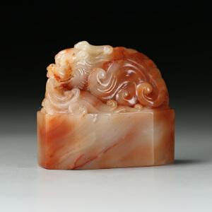 寿山巧色结晶芙蓉石 精雕鳌龙印章 p434