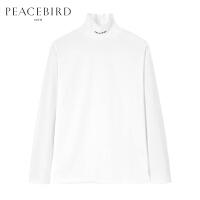 太平鸟男装 冬季新品高领胶印T恤时尚韩版白色长袖打底衫个性潮流