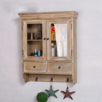 zakka杂货实木客厅壁挂 厨房储物柜吊柜墙上木质化妆品收纳展示柜