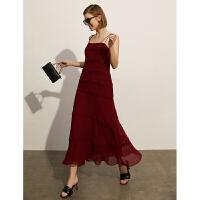 Amii极简性感气质吊带连衣裙2021夏季新款修身长款背心雪纺裙子女
