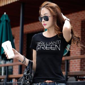 2017夏装新款纯棉短袖女t恤韩版修身夏季女装白色半袖体恤女上衣WK080