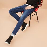 美特斯邦威牛仔长裤男士2017秋季新款洗水弹力修身长裤子潮流显瘦